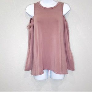 AEO Soft & Sexy dusty rose pink cold shoulder top